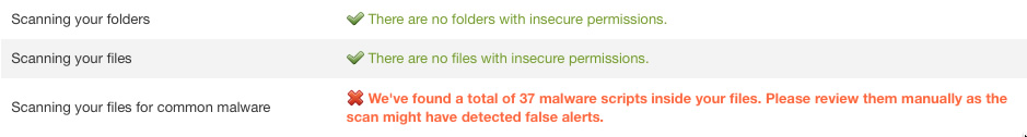 Our initial scan found 37 infected files